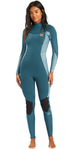 2021 Billabong Womens Synergy 4/3mm Back Zip Wetsuit W44G52 - Blue Seas