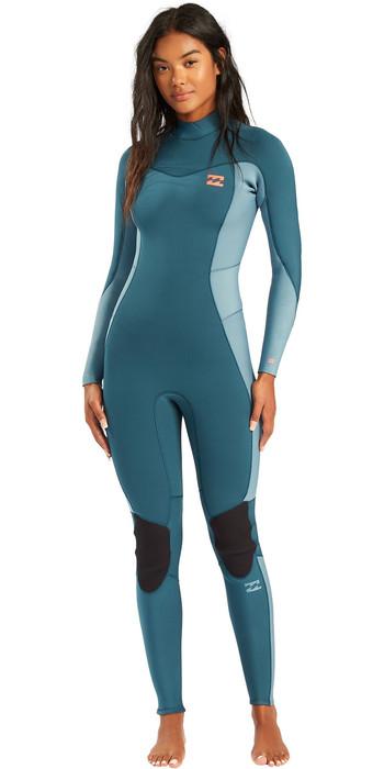 2021 Billabong Womens Synergy 4/3mm Back Zip Wetsuit W44G52 - Blue Seas