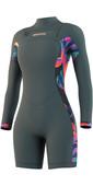 2021 Mystic Womens Dazzled 3/2mm Long Sleeve Shorty Wetsuit 210116 - Dark Leaf