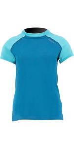 2021 Prolimit Womens Pure Short Sleeve Loosefit Rash Vest 54082 - Deep Blue / Turquoise