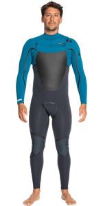 2021 Quiksilver Mens Marathon Sessions 4/3mm Chest Zip GBS Wetsuit EQYW103116 - Black Navy / Poseidon