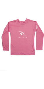 2021 Rip Curl Grom Boys Corp Long Sleeve UV Rash Vest WLY3CO - Pink