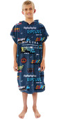 2021 Rip Curl Junior Boys Print Hooded Towel / Change Robe KTWBG9 - Navy / Red
