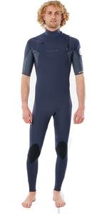 2021 Rip Curl Men Dawn Patrol Eco Chest Zip 2mm Short Sleeve Wetsuit WSM9YV - Slate