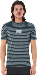2021 Rip Curl Men Mind Wave Stripe Short Sleeve Uv Tee WLY3TM - Mid Blue