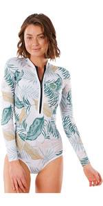 2021 Rip Curl Womens G Bomb 1mm Long Sleeve Hi Cut Shorty Wetsuit WSP3LV - White