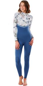 2021 Rip Curl Womens E-Bomb 4/3mm Zip Free Wetsuit WSM9MG - Slate Blue