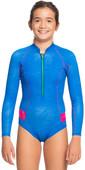 2021 Roxy Girls Pop Surf 1mm Long Sleeve Cheeky Shorty Wetsuit ERGW403015 - Princess Blue / Beetroot Purple