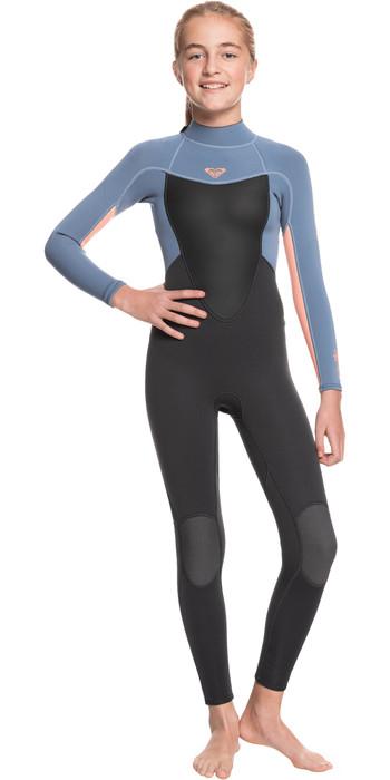 2021 Roxy Girls Prologue 3/2mm Back Zip Wetsuit ERGW103023 - Cloud Black / Powdered Grey / Sun Glow