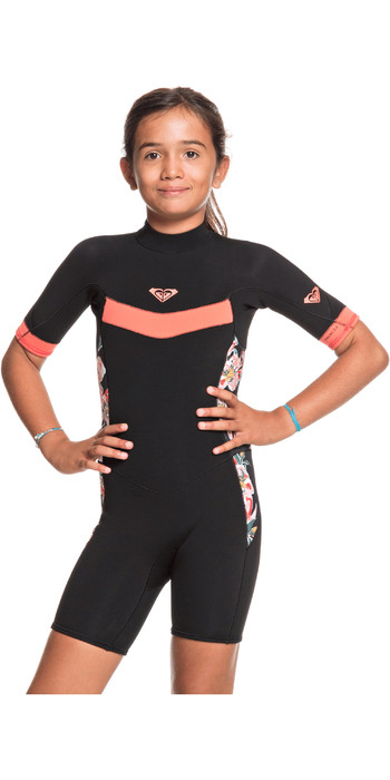2021 Roxy Girls Syncro 2/2mm Back Zip Spring Shorty Wetsuit ERGW503010 - Black / Bright Coral