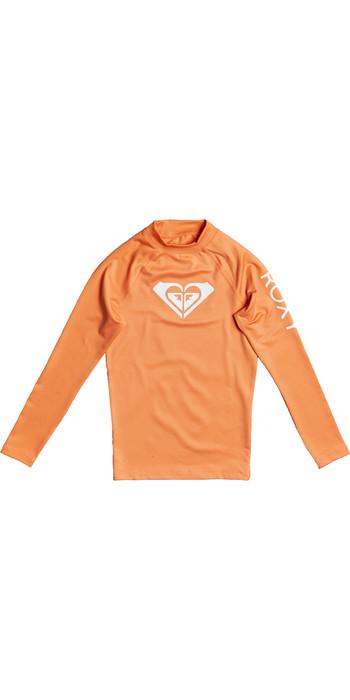 2021 Roxy Girls Whole Hearted Long Sleeve Rash Vest ERGWR03205 - Salmon Buff