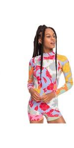 2021 Roxy Womens Cynthia Rowley 1.5mm Long Sleeve Shorty Wetsuit ERJW403037 - Bright White / Patchwork Rowley