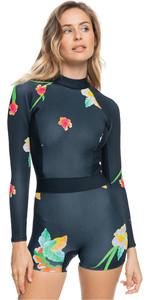 2021 Roxy Womens Cynthia Rowley 1.5mm Long Sleeve Shorty Wetsuit ERJW403037 - True Black / Large Flowa