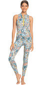 2021 Roxy Womens Marine Bloom UV Lycra Surf Jumpsuit ERJWR03494 - Powder Puff / Flower Party