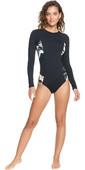 2021 Roxy Womens Printed Beach Classics Long Sleeve UV Onesie Surf Suit ERJWR03478 - Anthracite / Praslin