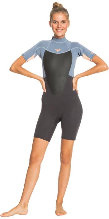 2021 Roxy Womens Prologue 2/2mm Back Zip Shorty Wetsuit ERJW503018 - Cloud Black / Powdered Grey / Sunglow