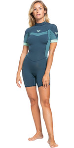 2021 Roxy Womens Syncro 2/2mm Back Zip Spring Shorty Wetsuit ERJW503014 - Deep Slate / Tinfoil Blue / Mint