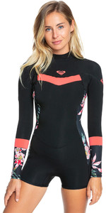 2021 Roxy Womens Syncro 2mm Long Sleeve Spring Shorty Wetsuit ERJW403024 - Black / Bright Coral