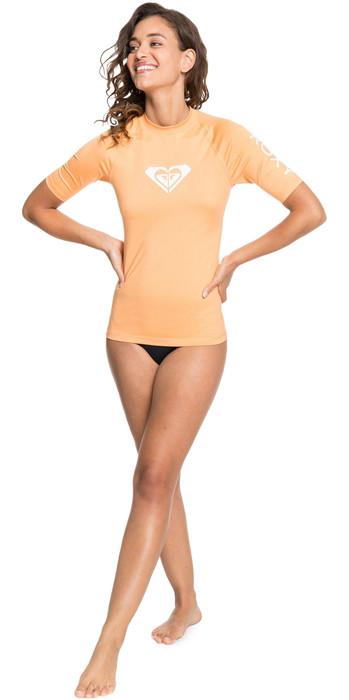 2021 Roxy Womens Whole Hearted Short Sleeve Rash Vest ERJWR03409 - Salmon Buff