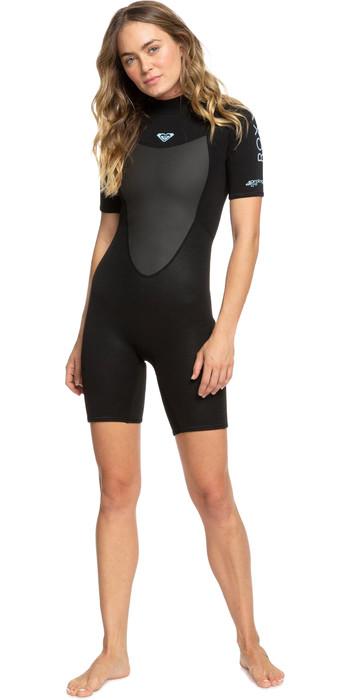 2021 Roxy Womens Prologue 2/2mm Back Zip Spring Shorty Wetsuit ERJW503018 - Black
