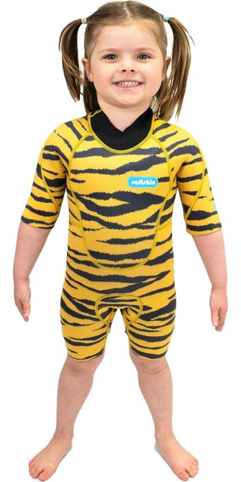 2021 Saltskin Junior 2mm Back Zip Shorty Wetsuit STSKNTGR02 - Tiger