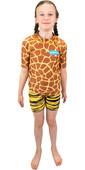 2021 Saltskin Junior Short Sleeve Rash Vest STSKNGRFF04 - Giraffe