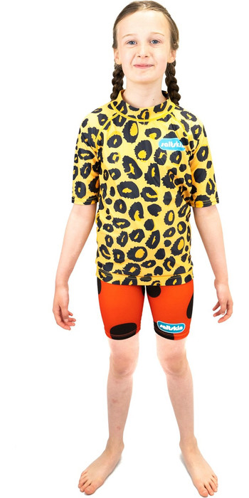 2021 Saltskin Junior Short Sleeve Rash Vest STSKNLEOPD04 - Leopard