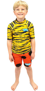 2021 Saltskin Junior Short Sleeve Rash Vest STSKNTGR04 - Tiger