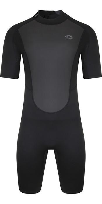 2021 Typhoon Mens Storm3 3/2mm Back Zip Shorty Wetsuit 250794 - Black / Graphite