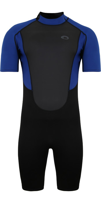 2021 Typhoon Mens Storm3 3/2mm Back Zip Shorty Wetsuit 250795 - Black / Nite Blue