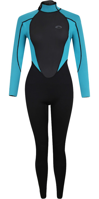 2021 Typhoon Womens Storm3 3/2mm Back Zip Wetsuit 250885 - Black / Aqua