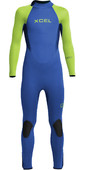 2021 Xcel Junior Axis 4/3mm Back Zip Wetsuit KN43AXG0F - Blue / Lime