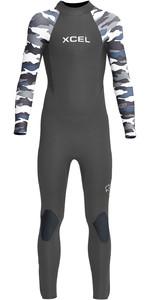 2021 Xcel Junior Axis 4/3mm Back Zip Wetsuit KN43AXG0G - Graphite / Snow Camo