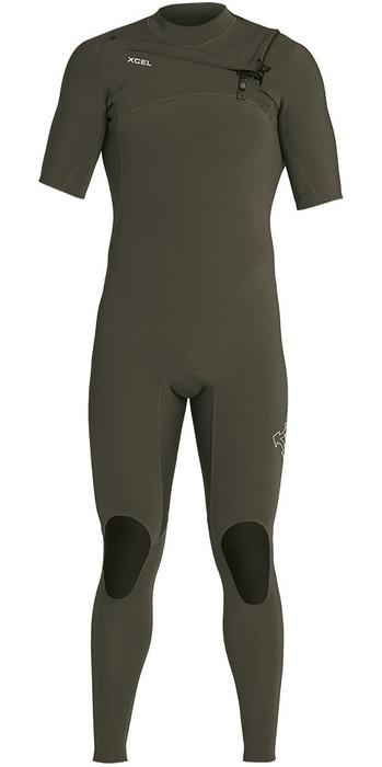2021 Xcel Mens Comp 2mm Short Sleeve Chest Zip Wetsuit MN22ZXC0 - Dark Forest