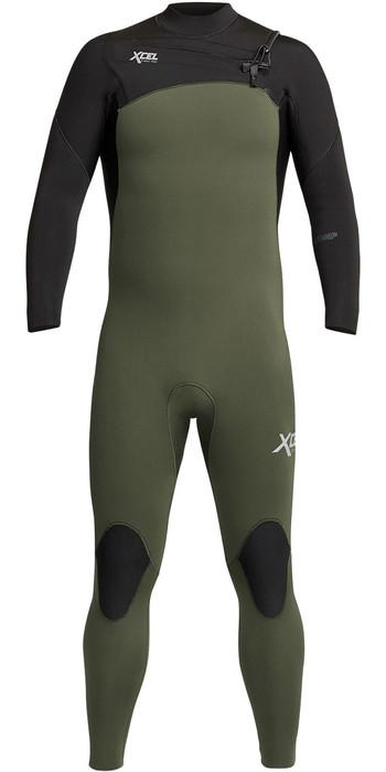2021 Xcel Mens Comp 3/2mm Chest Zip Wetsuit MN32ZX - Dark Forest / Black