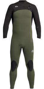 2021 Xcel Mens Comp 4/3mm Chest Zip Wetsuit MN43ZXC0D - Dark Forest / Black