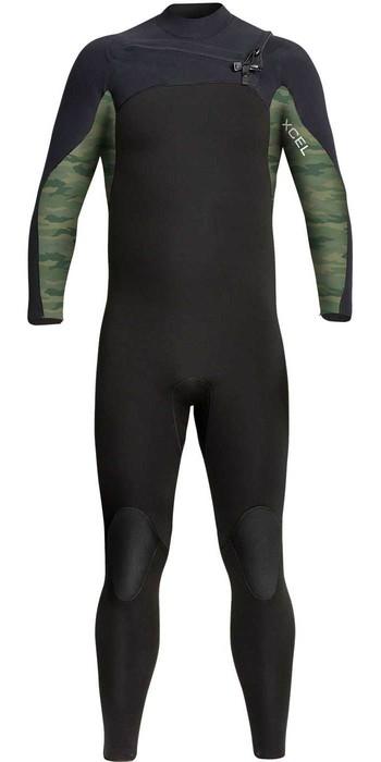 2021 Xcel Mens Phoenix 3/2mm Chest Zip Wetsuit MN32GBX0B - Black / Green Camo