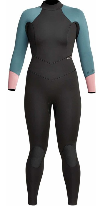 2021 Xcel Womens Axis 3/2mm Back Zip Wetsuit WN32AXG0 - Black / Tinfoil / Mesa Rose