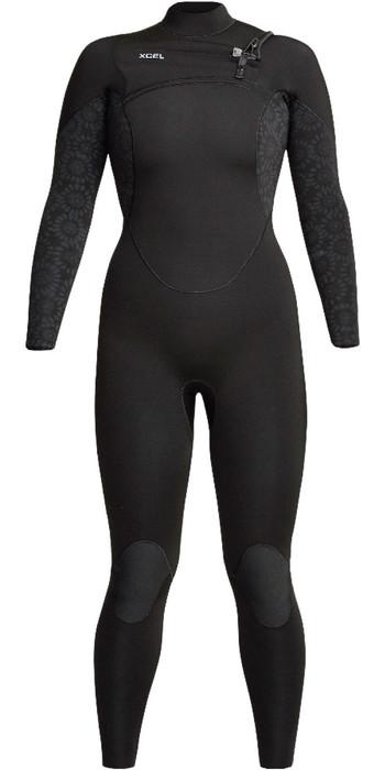 2021 Xcel Womens Comp 5/4mm Chest Zip Wetsuit WN54ZXC0 - Black Flower