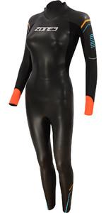 2021 Zone3 Womens Aspect Breaststroke 3/2mm Triathlon Wetsuit WS21WAP - Black/Blue / Orange