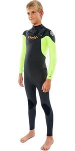 2021 Rip Curl  Junior Dawn Patrol 3/2MM GBS Chest Zip Wetsuit WSM9KB - Fluro Lemon