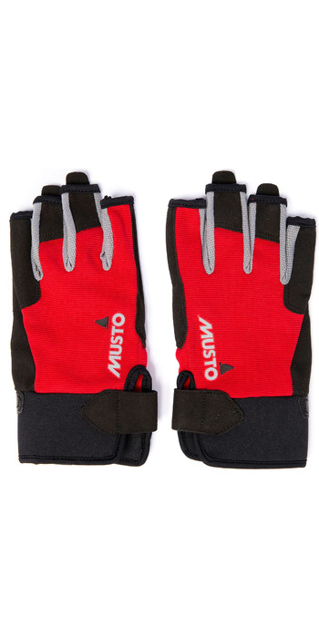 2021 Musto Essential Sailing Short Finger Gloves AUGL003 - Red