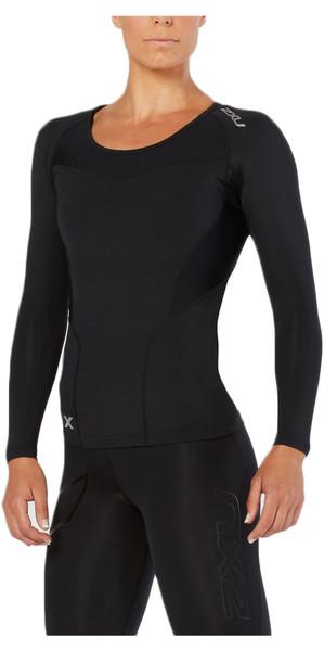2018 2XU Womens Compression Long Sleeve Top BLACK WA2270a