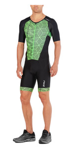 2018 2XU Perform Full Zip Short Sleeve Trisuit BLACK / NEON GREEN MT4847d