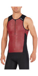 2XU Perform Tri Singlet BLACK / KONA TEAM RED MT4851a