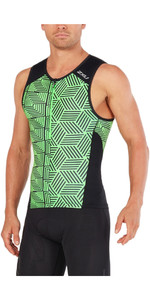 2018 2XU Perform Tri Singlet BLACK / NEON GREEN MT4851a