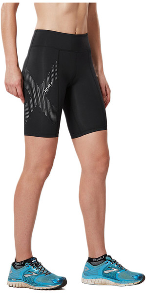 2018 2XU Womens Mid-Rise Compression Short BLACK / REFLECTIVE SPOT WA3027b