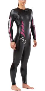 2019 2XU Womens P:1 Propel Triathlon Wetsuit BLACK / PINK PEACOCK WW4994c
