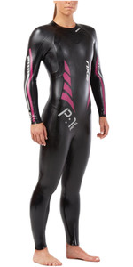 2018 2XU Womens P:1 Propel Triathlon Wetsuit BLACK / PINK PEACOCK WW4994c