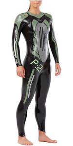 2XU Womens P:2 Propel Triathlon Wetsuit BLACK / MINT GREEN WW4993c